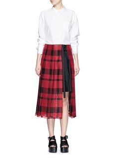 SACAICheck plaid pleated side split skirt