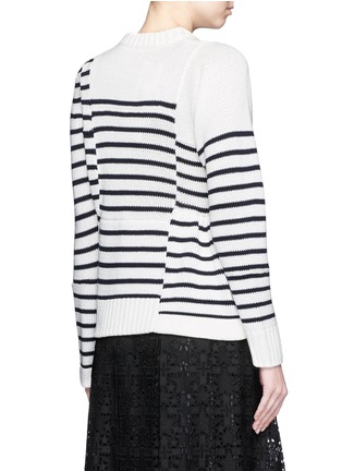 Back View - Click To Enlarge - Sacai - Asymmetric sleeve puzzle stripe knit sweater