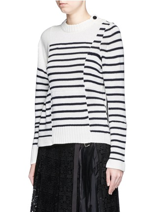 Front View - Click To Enlarge - Sacai - Asymmetric sleeve puzzle stripe knit sweater