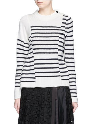 Main View - Click To Enlarge - Sacai - Asymmetric sleeve puzzle stripe knit sweater