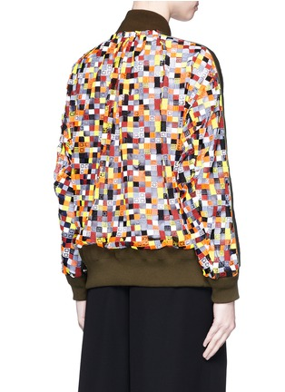 Sacai - Grid embroidery tulle bomber jacket