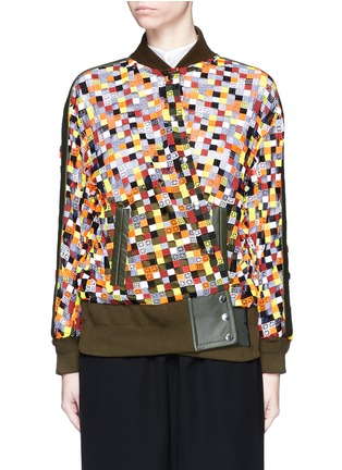Main View - Click To Enlarge - Sacai - Grid embroidery tulle bomber jacket