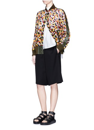 Figure View - Click To Enlarge - Sacai - Grid embroidery tulle bomber jacket