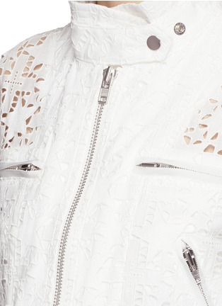 Detail View - Click To Enlarge - Sacai - Star lace drawstring biker long coat