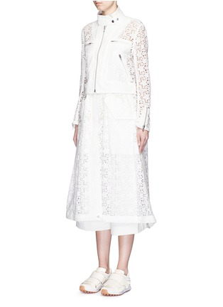 Front View - Click To Enlarge - Sacai - Star lace drawstring biker long coat