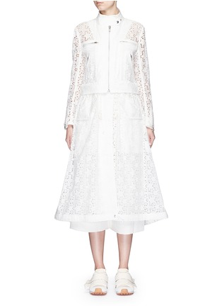 Main View - Click To Enlarge - Sacai - Star lace drawstring biker long coat
