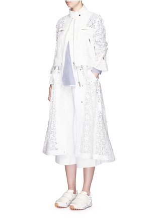 Figure View - Click To Enlarge - Sacai - Star lace drawstring biker long coat