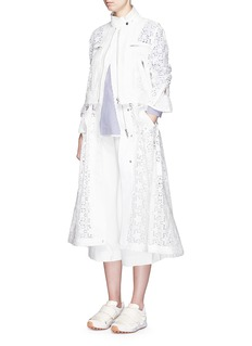 SACAI Star lace drawstring biker long coat