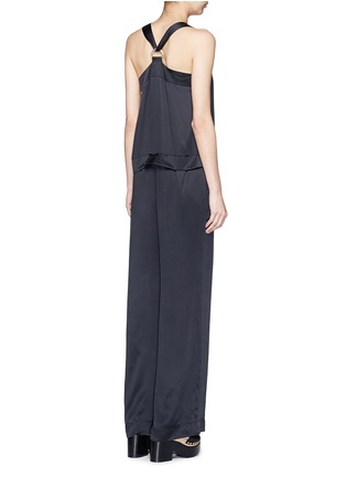 Back View - Click To Enlarge - KENZO - Cinched D-ring strap sandwashed silk jumpsuit