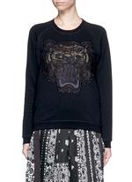 Mesh tiger embroidery cotton sweatshirt