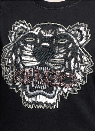Detail View - Click To Enlarge - KENZO - Embellished tiger embroidery cotton sweatshirt