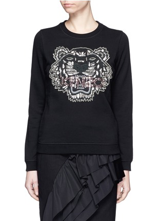 Main View - Click To Enlarge - KENZO - Embellished tiger embroidery cotton sweatshirt
