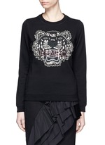 Embellished tiger embroidery cotton sweatshirt