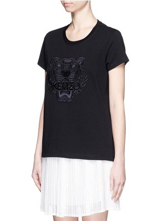 Front View - Click To Enlarge - KENZO - Mesh tiger embroidery cotton T-shirt
