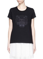 Mesh tiger embroidery cotton T-shirt