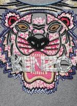Beaded tiger embroidery sweatshirt