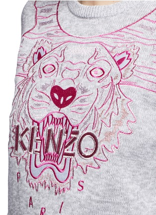 Detail View - Click To Enlarge - KENZO - Metallic tiger embroidery marled cotton sweater