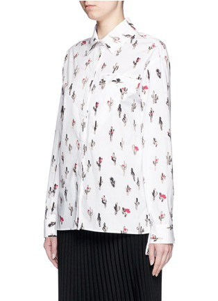 Front View - Click To Enlarge - KENZO - 'Cartoon Cactus' print cotton poplin shirt