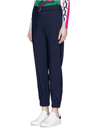 Front View - Click To Enlarge - KENZO - Belted fluid twill pants