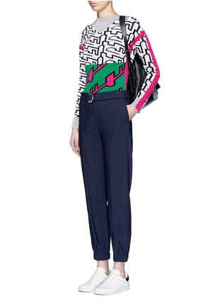 Figure View - Click To Enlarge - KENZO - Belted fluid twill pants