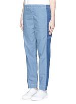 Colourblock denim elastic sweatpants
