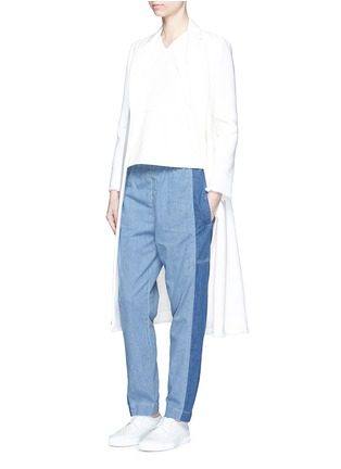 模特儿示范图 - 点击放大 - KENZO - Colourblock denim elastic sweatpants