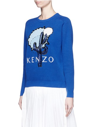 Front View - Click To Enlarge - KENZO - Cactus appliqué embroidery cotton piqué sweatshirt