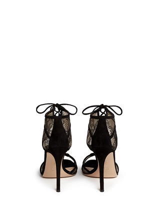 Back View - Click To Enlarge - Gianvito Rossi - Suede trim floral lace sandals