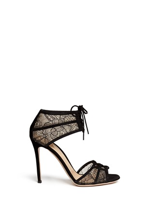 Main View - Click To Enlarge - Gianvito Rossi - Suede trim floral lace sandals
