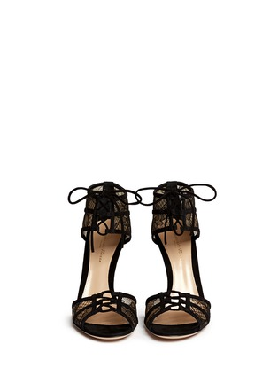 Figure View - Click To Enlarge - Gianvito Rossi - Suede trim floral lace sandals