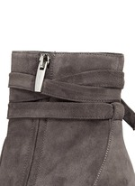 Ribbon tie suede boots