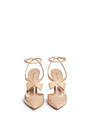 Figure View - Click To Enlarge - Gianvito Rossi - Crossed bow T-strap patent leather pumps