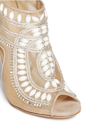 Detail View - Click To Enlarge - Jimmy Choo - Crystal and bead embellished mesh booties