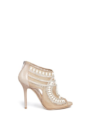 Main View - Click To Enlarge - Jimmy Choo - Crystal and bead embellished mesh booties