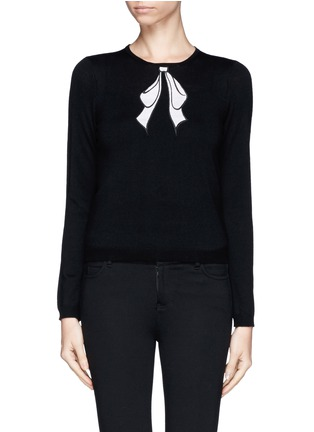 Detail View - Click To Enlarge - alice + olivia - Detachable collar bow intarsia sweater