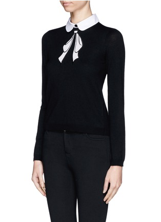 Front View - Click To Enlarge - alice + olivia - Detachable collar bow intarsia sweater