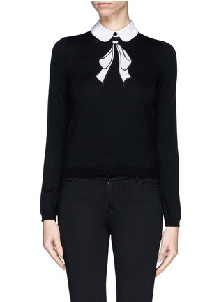 Main View - Click To Enlarge - alice + olivia - Detachable collar bow intarsia sweater