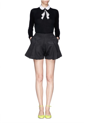 Figure View - Click To Enlarge - alice + olivia - Detachable collar bow intarsia sweater