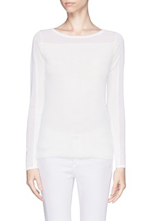 THEORY Keshi sheer yoke and sleeve sweater