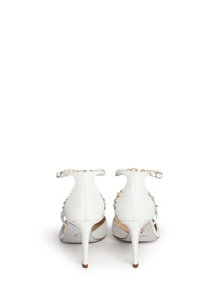 Back View - Click To Enlarge - René Caovilla - Faux pearl flower crystal strap leather pumps