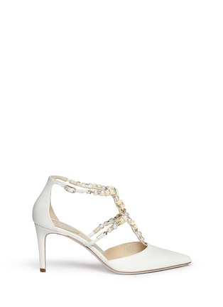 Main View - Click To Enlarge - René Caovilla - Faux pearl flower crystal strap leather pumps