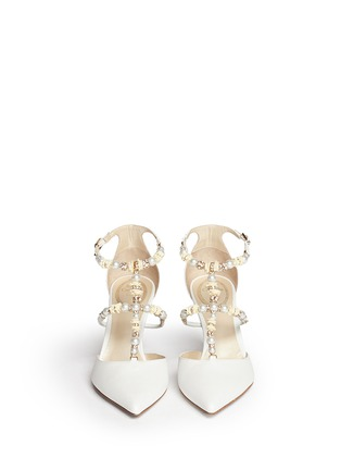 Figure View - Click To Enlarge - René Caovilla - Faux pearl flower crystal strap leather pumps