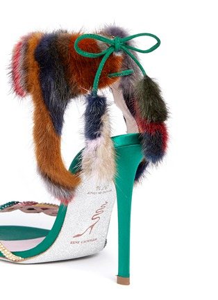 Detail View - Click To Enlarge - René Caovilla - Mink fur crystal braid sandals