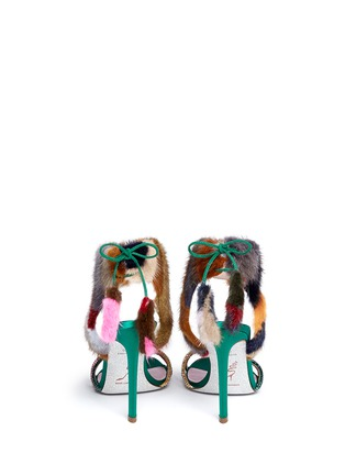 Back View - Click To Enlarge - René Caovilla - Mink fur crystal braid sandals