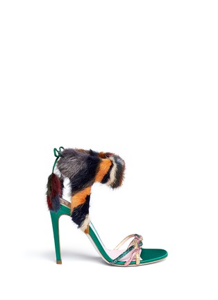 Main View - Click To Enlarge - René Caovilla - Mink fur crystal braid sandals