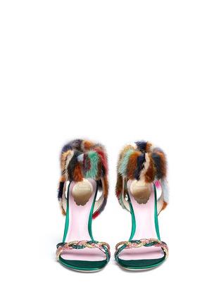 Figure View - Click To Enlarge - René Caovilla - Mink fur crystal braid sandals