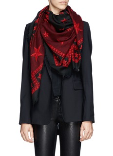 GIVENCHYStar and stud print wool scarf