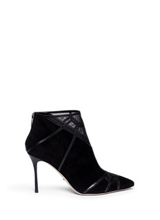 SERGIO ROSSI 'Puzzle' geometric trim suede ankle boots