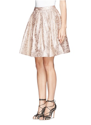 Front View - Click To Enlarge - alice + olivia - 'Pia' lurex floral jacquard pouf skirt