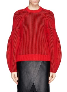 GIVENCHY Contrast rib knit sweater